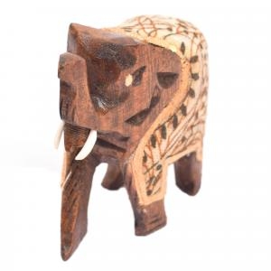 WOODEN ELEPHANT WITH CLOTH STANDING