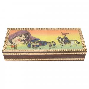 GEM STONE PAINTING WOOD BRASS JEWELLERY BOX