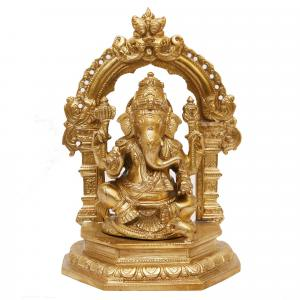 BRONZE SCULPTURE GANESHA SITTING WITH PRABHAVALI