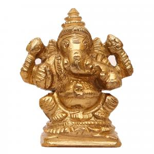 BRONZE SCULPTURE SITTING GANESHA