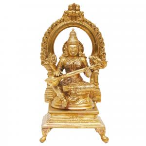 BRONZE SCULPTURE SARASWATHI WITH PRABHAVALI