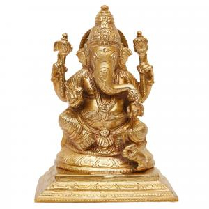 BRONZE SCULPTURE GANESHA SITTING