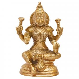 BRONZE SCULPTURE LAKSHMI SITTING