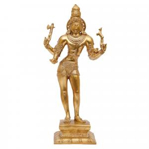 BRONZE SCULPTURE WORSHIPPED SHIVA STANDING CHOLA STYLE