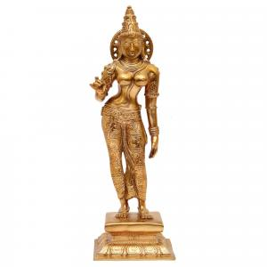BRONZE SCULPTURE WORSHIPPED PARVATHY STANDING
