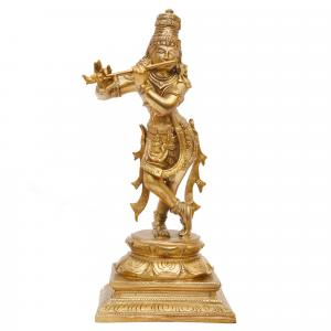 BRONZE SCULPTURE FLUTE KRISHNA STANDING ON SQUARE BASE
