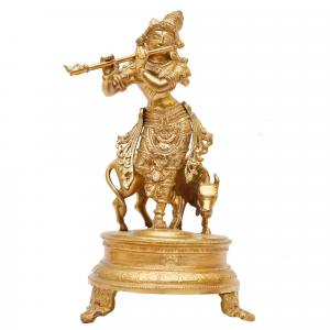 BRONZE SCULPTURE KRISHNA STANDING WITH COW