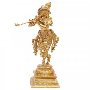 BRONZE SCULPTURE  KRISHNA STANDING ON SQUARE BASE