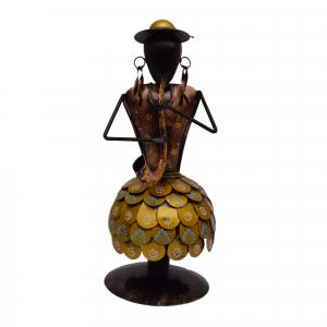 DECORATIVE HANDICRAFTS PAINTED COIN DESIGN GHAGHRA LADY SPRING MUSICIAN