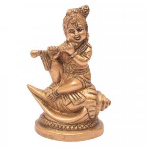 BRASS BABY KRISHNA SITTING WITH SHANKU BASE