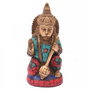 BRASS ABHAYA HANUMAN SITTING WITH STONE WORK