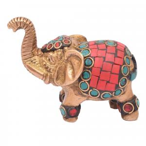 BRASS ELEPHANT STANDING WITH STONE WORK