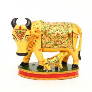 WOODEN COW AND CALF PAINTED