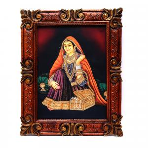 HAND MADE PAINTING LADY SITTING