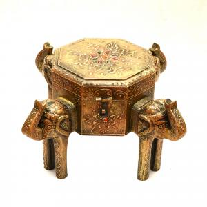 WOODEN PAINTED ELEPHANT BOX