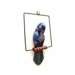 WOODEN PAINTED PARROT WALL HANGING