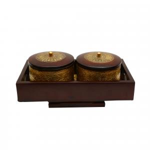 WOODEN PAINTED BOWL WITH TRAY