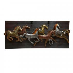 WROUGHT IRON 7 HORSE WOODEN PANEL WITH LED