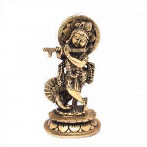 BRASS KRISHNA STANDING WITH PEACOCK ON LOTUS BASE