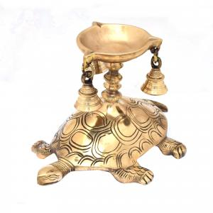 BRASS SCULPTURE TORTOISE DIYA WITH BELL