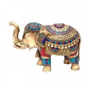 BRASS ELEPHANT TRUNK UP WITH GEM STONE WORK