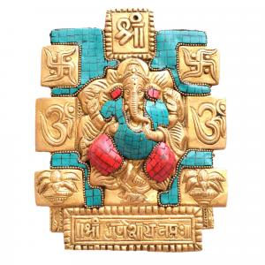 BRASS WALL HANGING GANESHA WITH GEM STONE WORK