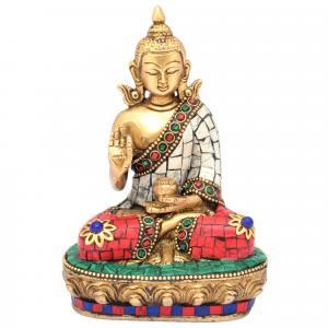 BRASS BUDDHA SAKYAMUNI SITTINGWITH GEM STONE WORK