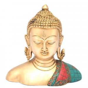 BRASS BUDDHA BUST GEM STONE WORK