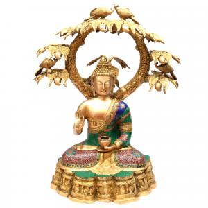 BRASS BUDDHA SITTING UNDER TREE ON BASE WITH GEM STONE WORK