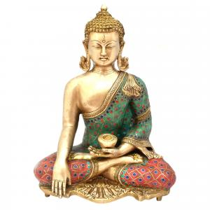 BRASS BUDDHA SITTING WITH GEM STONE WORK