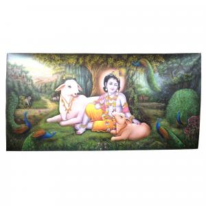 KRISHNA WITH COW CANVAS PAINTING WALL HANGING HANDMADE HOME DECO