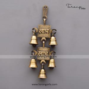 BRASS ANTIQUE LABH WALL HANGING WITH BELL