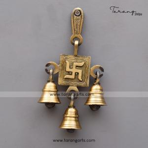 BRASS ANTIQUE SWASTHIK WALL HANGING WITH BELL