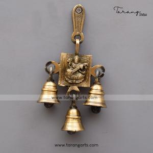 BRASS ANTIQUE SARASWATHI WALL HANGING WITH BELL