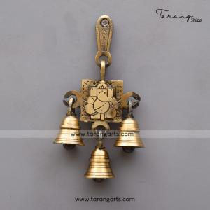BRASS ANTIQUE APPU GANESHA WALL HANGING WITH BELL
