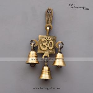 BRASS ANTIQUE OM WALL HANGING WITH BELL