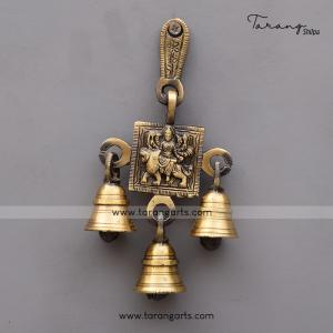 BRASS ANTIQUE DURGA WALL HANGING WITH BELL