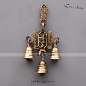 BRASS ANTIQUE KRISHNA WALL HANGING WITH BELL