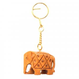 WOODEN CARVING ELEPHANT KEYCHAIN