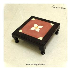 WOODEN STOOL WITH ATHANGUDI TILE 13*13