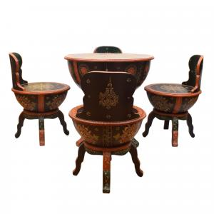 SHEESHAM WOOD PAINTED TABLE SET WITH 5 CHAIR