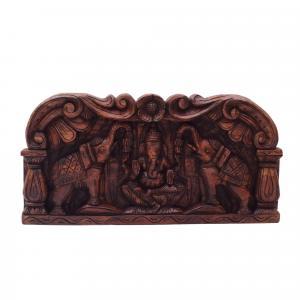 VAAGAI WOOD  SCULPTURES GANESHA AND ELEPHANT PANEL