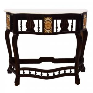 WOODEN CONSOLE TABLE WITH MARBLE