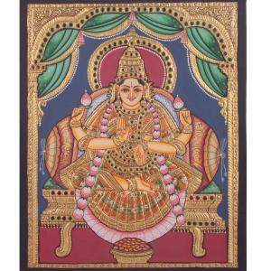 22ct Gold Goddess Lakshmi Aishwarya Lakshmi Tanjore Painting