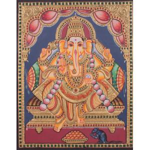 22ct Gold Handmade Lord Ganesha Antique Tanjore Painting