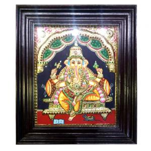 22ct Gold Handmade Lord Ganesha in Mantap Tanjore Painting