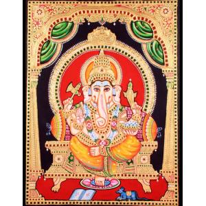 22ct Gold Handmade Lord Ganesha in Mantap Tanjore Painting