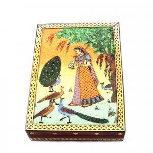 GEM STONE PANTING BOX STANDING LADY WITH PEACOK