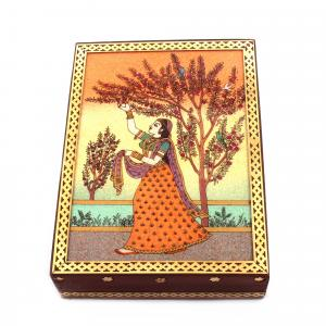 GEM STONE PANTING BOX LADY WITH FLOWER TREE