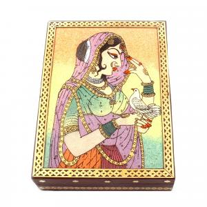 GEM STONE PANTING BOX LADY WITH PIGEON